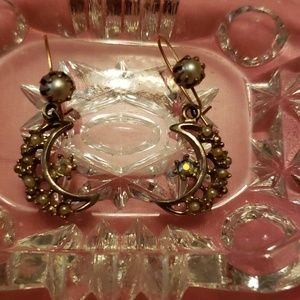 Moon & stars pearl earrings